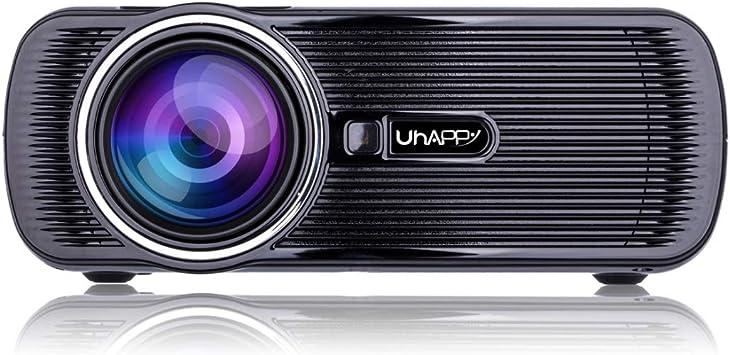 Opinión sobre Zhoutao Pantalla LED U80 sincronización móvil de Pantalla 1080P HD Mini proyector con Control Remoto, compatibilidad con USB/SD/HDMI/VGA/AV (Negro) (Color : Black)