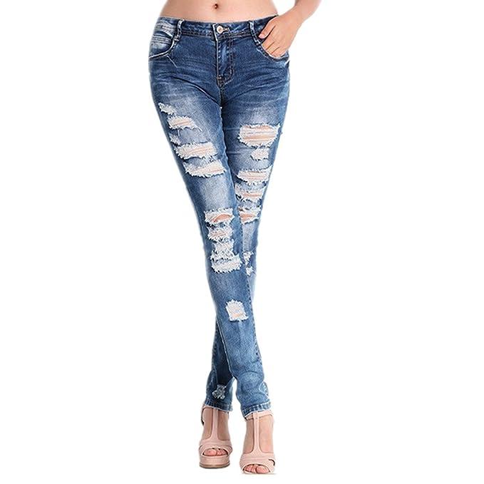 Hffan Frau Cool Zerrissen Knie Schneiden Dünn Lange Jeans