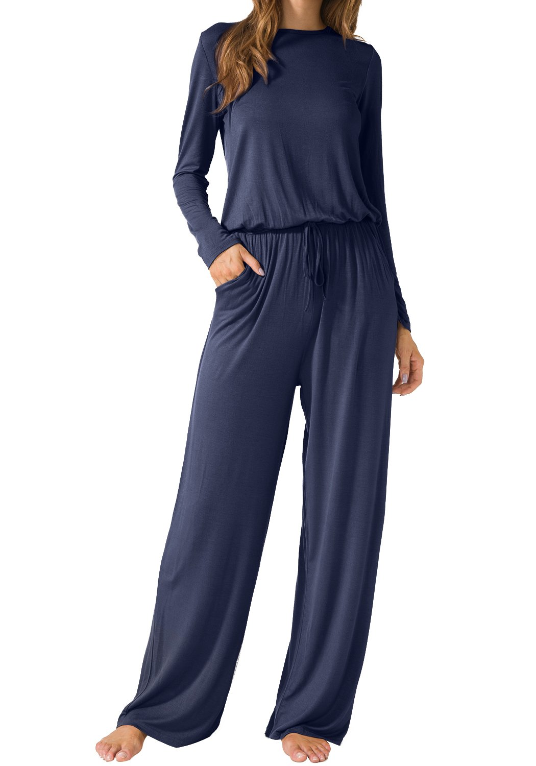 LAINAB Womens Casual Long Sleeves O Neck Wide Legs Playsuits Jumpsuits Deep Blue L