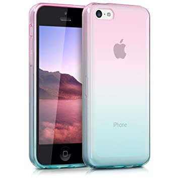 kwmobile Funda compatible con Apple iPhone 5C - Carcasa de TPU con diseño bicolor - rosa fucsia / azul mate