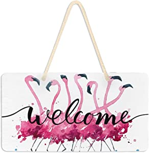 WELLDAY Hanging Plaque Welcome Sign Flamingo Lake Porch Front Door Wall Decor for Home