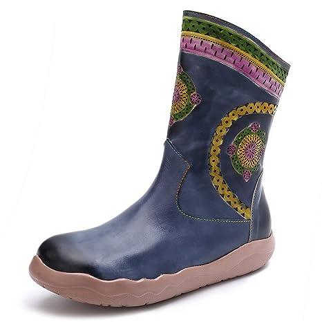 2018 Nuevas botas de mujer Otoño Invierno de cuero Botines retro hechos a mano, zapatos