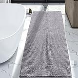 Lifewit 70.9'' x 25.6'' Bath Runner Rug Area Chenille Mat Rugs Bathroom Living Room Kitchen Machine Washable Shag Rug Grey