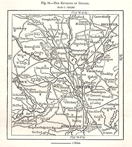 The Environs of Oxford. Woodstock Abingdon Bicester Witney. Sketch map - 1885 - Old map - Antique map - Vintage map - Printed maps of Oxfordshire