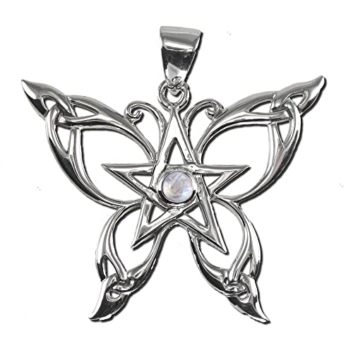 Sterling Silver Butterfly Pentacle Pendant with Natural Rainbow Moonstone
