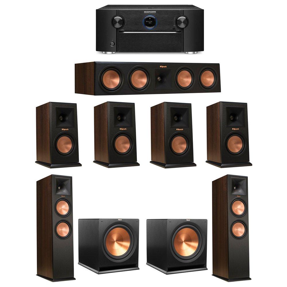 Klipsch 7.2 Walnut System with 2 RP-280F Tower Speakers, 1 RP-450C Center Speaker, 4 Klipsch RP-150M Bookshelf Speakers, 2 Klipsch R-115SW Subwoofer, 1 Marantz SR7011 A/V Receiver by Klipsch