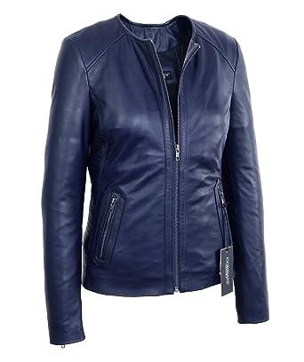 f770ca4fb69c Womens Midnight Blue Collarless Lambskin Real Leather Jacket (X-Small,  Midnight Blue)