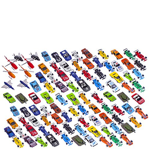 100 Pc Metal Plastic Die Cast Cars Assortment, Tankers, Fighter Jets, and Helicopters