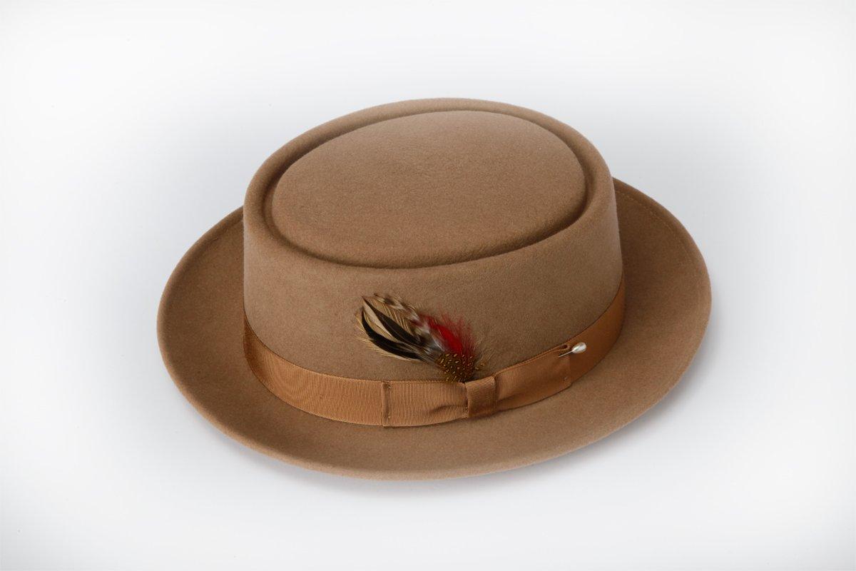 New Mens 100% Wool Camel (Tan / Beige) Porkpie (Pork Pie) Hat