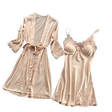 3390b26d0aa95 NINGSANJIN-Lingerie Femme Chic Peignoir Soie Dentelle Robes Robe Nuisette  Chemise Vêtements De Pyjama Kimono