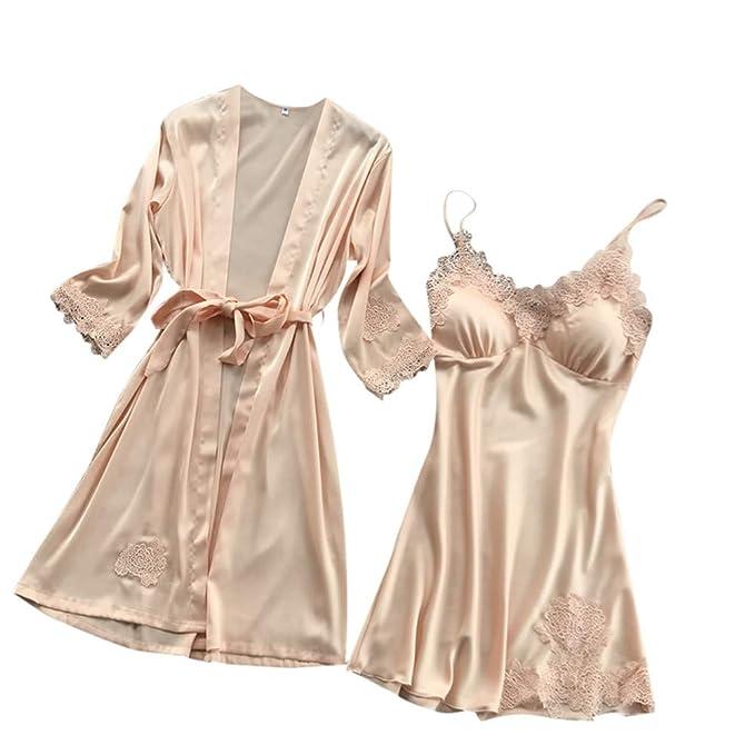 8a0fb7bcee POQOQ Sleepwear Lingerie Women Satin Robe Dress Babydoll Nightdress Kimono  Set XXS Beige