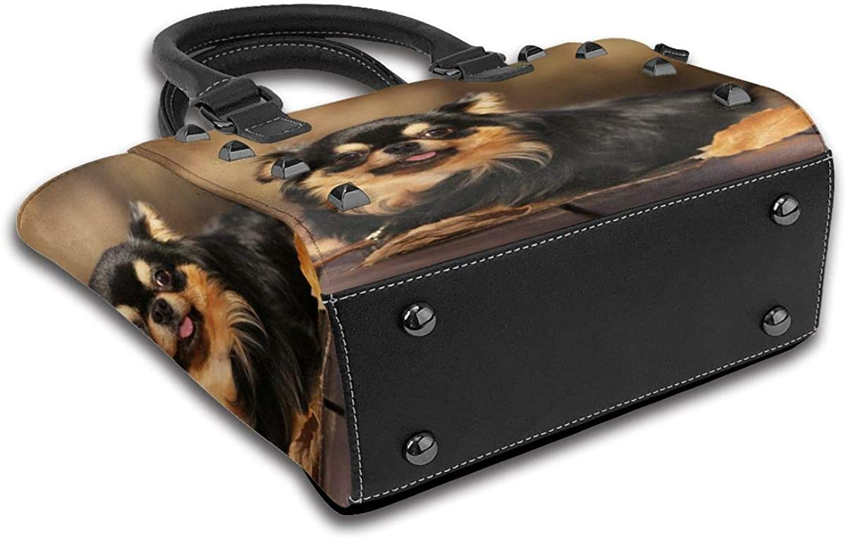 New York Brooklyn 98 Usa Style Damen Handtasche Hobos Leder Nieten Schultertasche Große Tote Bag für Arbeit Langhaarige Chihuahua