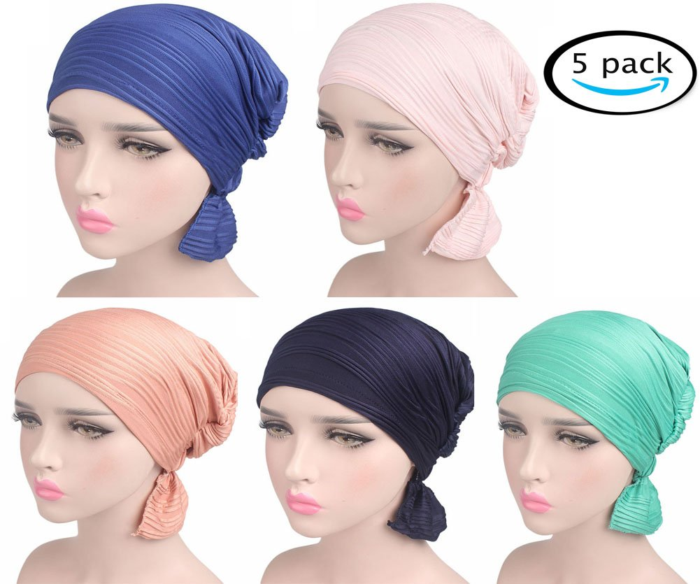 Chemo Caps for Women Cancer Hats Beanie Turbans, 5 Pack