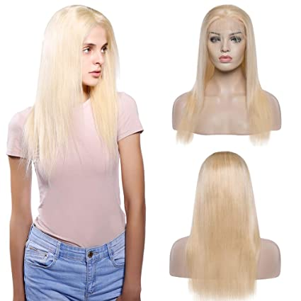 "18""(45cm) Pelucas Naturales Rubias Lisas Lace Front Wig Mujer Pelo Natural Humano"