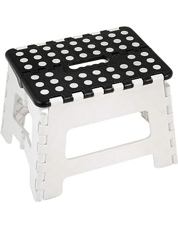DonRegaloWeb - Taburete plegable de pvc en color blanco y negro con antideslizante en lo alto