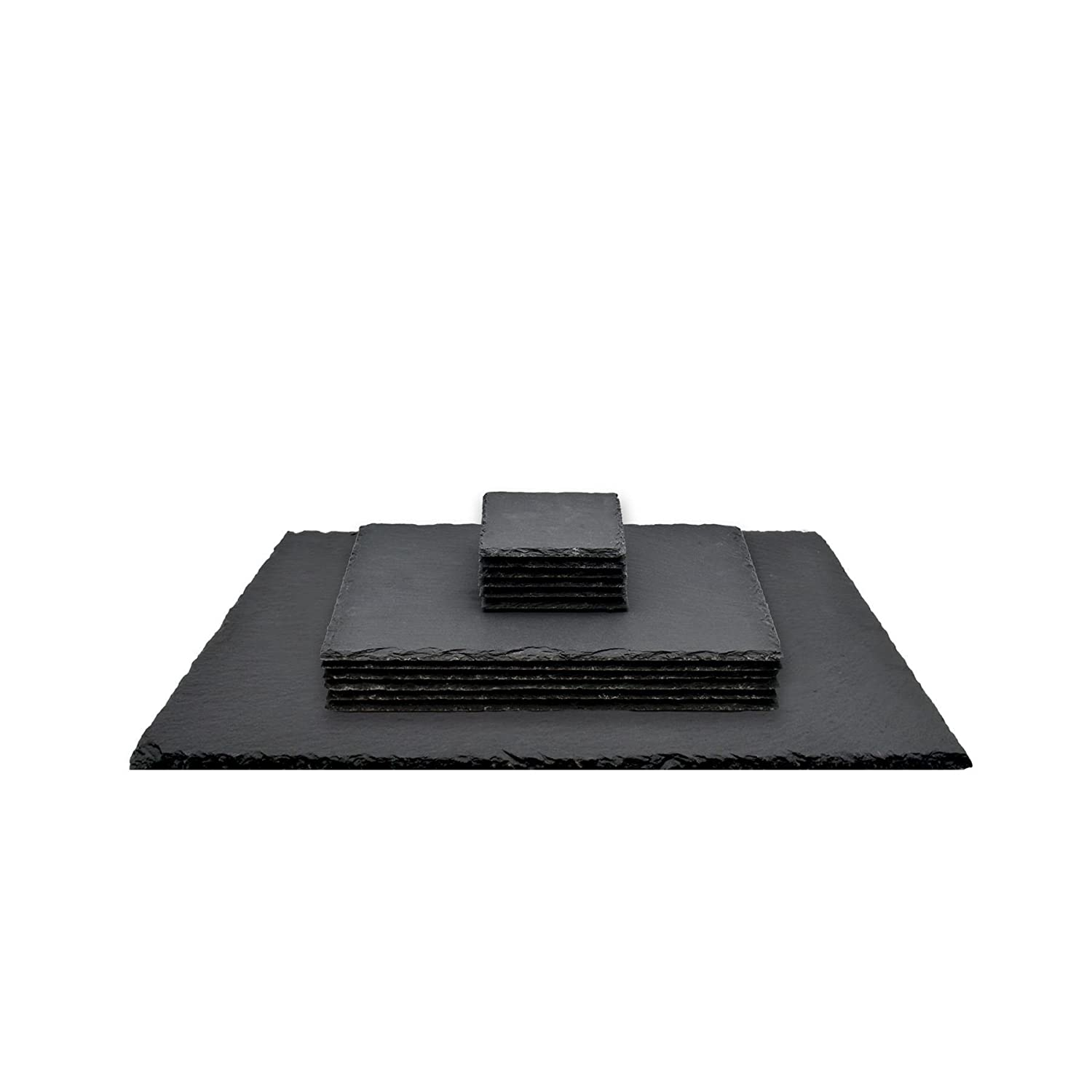 Argon Tableware Square/Rectangular Natural Slate Placemat Set - 6 Coasters, 6 Placemats and Table Runner/Serving Platter