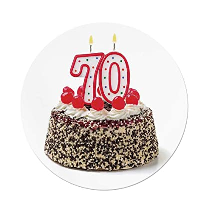IPrint Polyester Round Tablecloth70th Birthday DecorationsBirthday Cake With 70 Number Candles Sprinkles