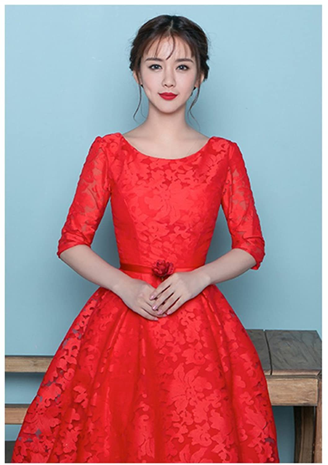 Drasawee Short 3/4 Sleeves Homecomig Dresses Slim Prom Party Gowns for Junior Girls