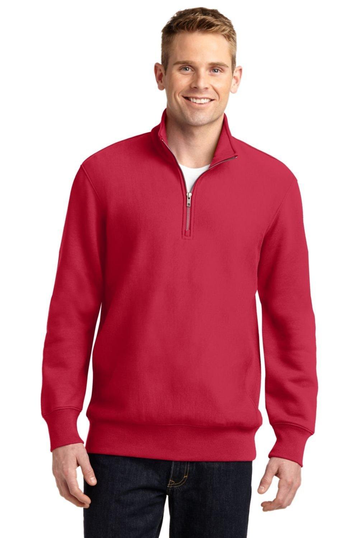 Sport-Tek Men's Super Heavyweight 1/4 Zip Pullover Sweatshirt S Red by Sport-Tek