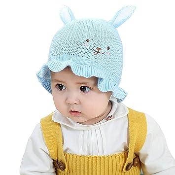 Générique Bonnet bébé avec des Oreilles Lapin Tricot Crochet Chapeau,Blue 1b55973538a