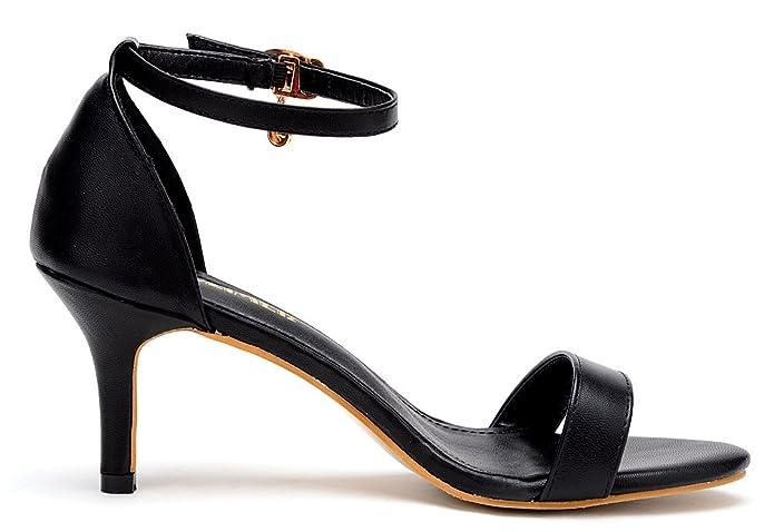 ODEMA Women Summer Open Toe Ankle Strap Kitten Heel Sandals Stiletto Dress  Pumps: Amazon.co.uk: Shoes & Bags