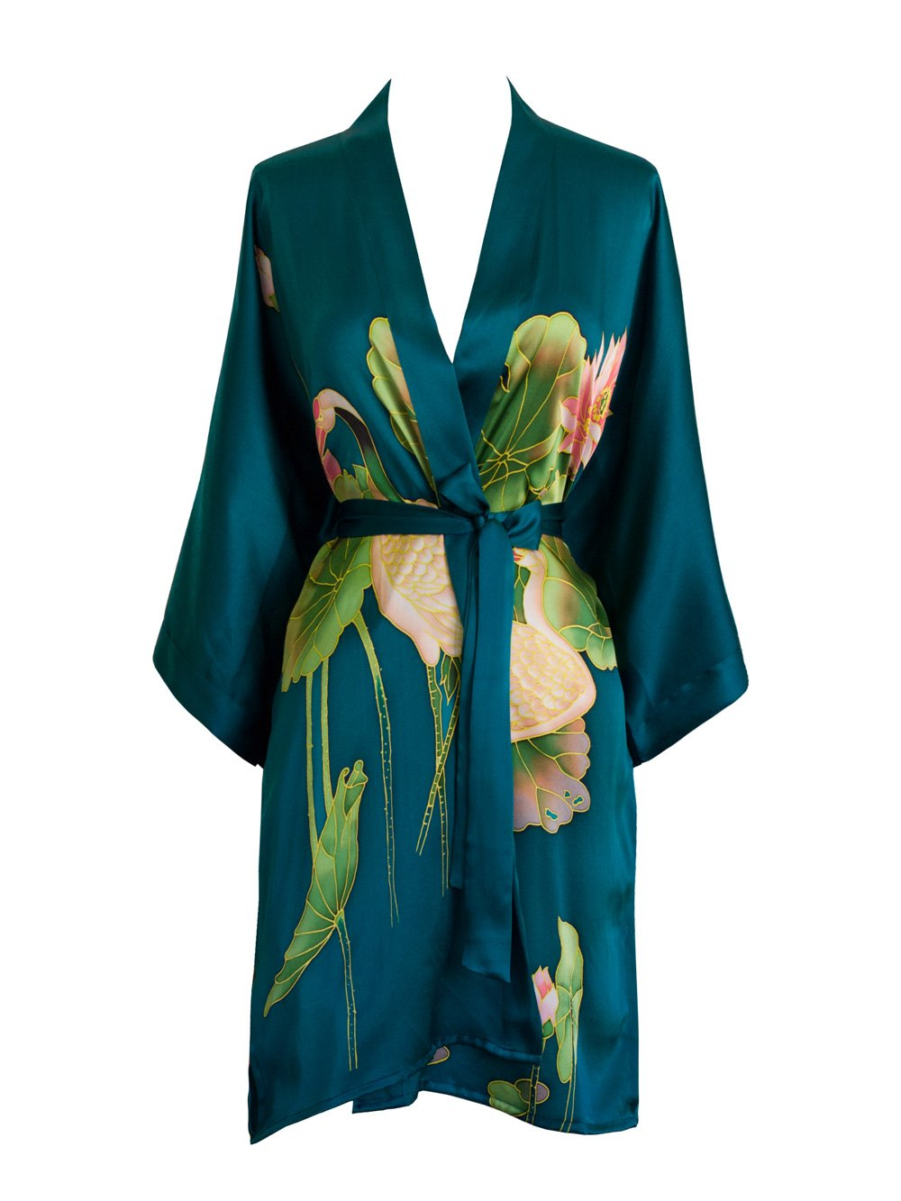 Old Shanghai Women's Silk Kimono Short Robe - Handpainted (Crane Teal)