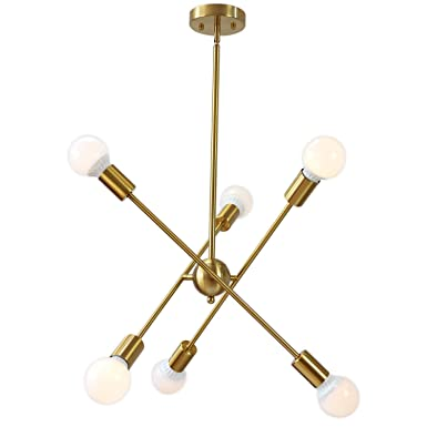 TUDOLIGHT Sputnik Chandelier Brushed Brass 6 Lights Modern Pendant Lighting Gold Mid Century Ceiling Light Fixture UL Listed for Kitchen Dining Room Hallway Foyer