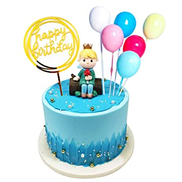 8 Pcs Birthday Cake Toppers Of Cute Stump Little Prince Balloon Small Decorations For Kids