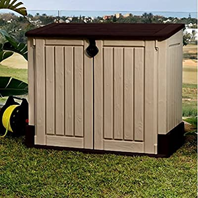 Garbage Can Shed for Outdoor Use, Contemporary Rustic MIDI Plastic 30-cubic feet Horizontal Garbage Shed & E-Book