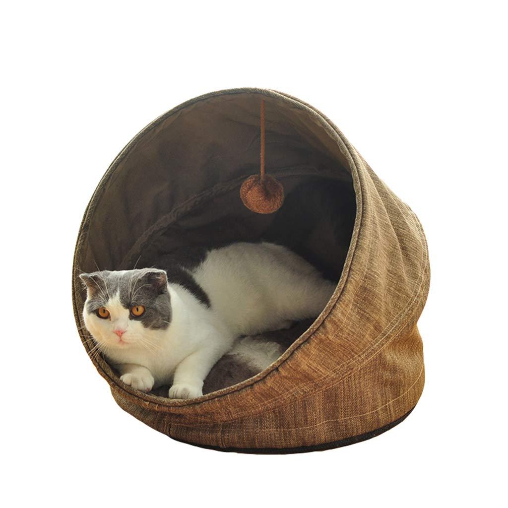 Pet Cushion Cat and Dog Universal Pet Bed Half-Sealed Cat Nest Dog Pad Four Seasons Universal Foldable Pet Supplies Light Brown 43×39×16cm Dog Mat Pad Cat Mat