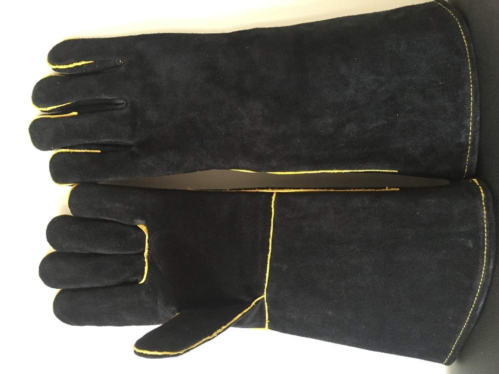 ZLF Welders Gloves Cow Split Leather Factory Gardening Welding Wood Stove Work Gloves Heat Resistant