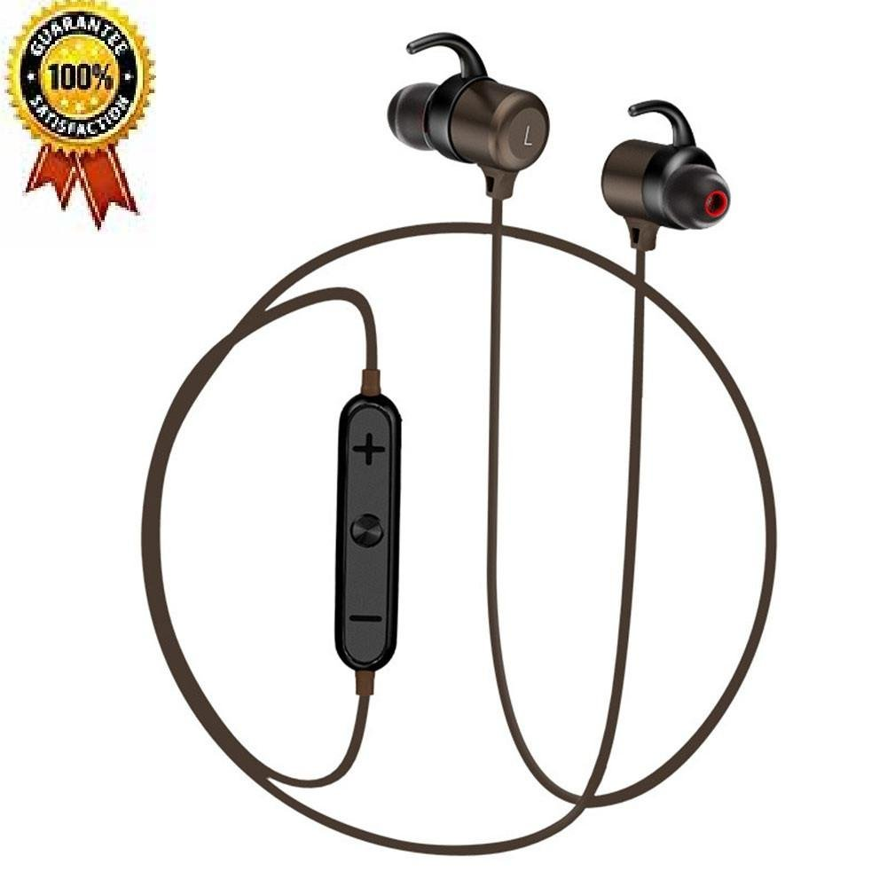 high-quality Teepao Motorcycle Bluetooth Headphones, Wireless Bluetooth Earbuds - Active Noise Canceling, HiFi Stereo Richer Bass, Built-in Mic, Sweatproof - Sports Headphones for Men Women Girls Kids - Brown