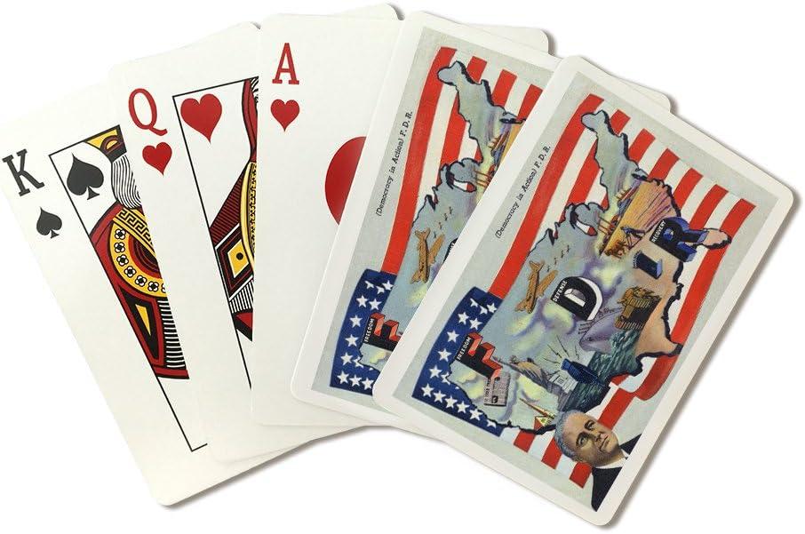 Segunda Guerra Mundial promoción – la democracia en acción, FDR por nosotros bandera (Playing Card Deck – 52 tarjeta Poker Tamaño con Jokers): Amazon.es: Deportes y aire libre