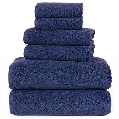 Lavish Home 6 Piece 100% Egyptian Cotton Zero Twist Towel, Navy