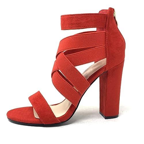 41ee7b1a82d7 Angkorly - Chaussure Mode Escarpin Sandale Hauts Talons Ouvert Sexy Femme  lanières croisées élastique Talon Haut