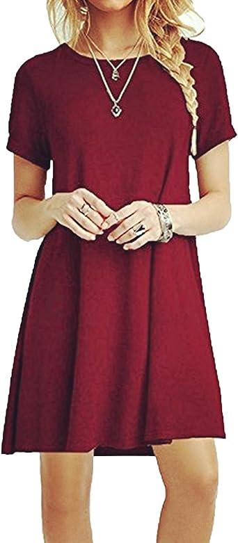 TALLA M. ZNYSTAR Mujeres Suelto Casual Vestido de Camiseta Cuello Redondo Vino Rojo