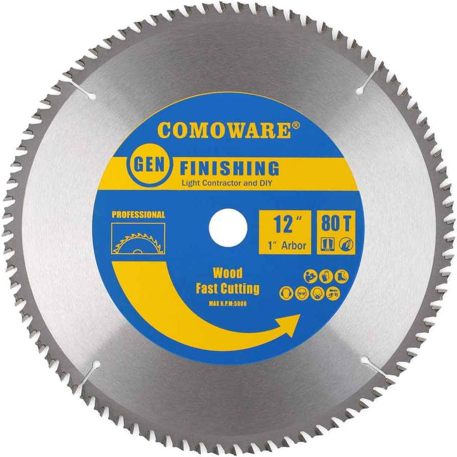 COMOWARE Circular Miter Saw Blade- 12 inch 80 Tooth ATB Premium Tip, Anti-vibration, 1 inch Arbor Light Contractor and DIY for Wood, Wood Composites, Laminate, Veneered Plywood & Hardwoods