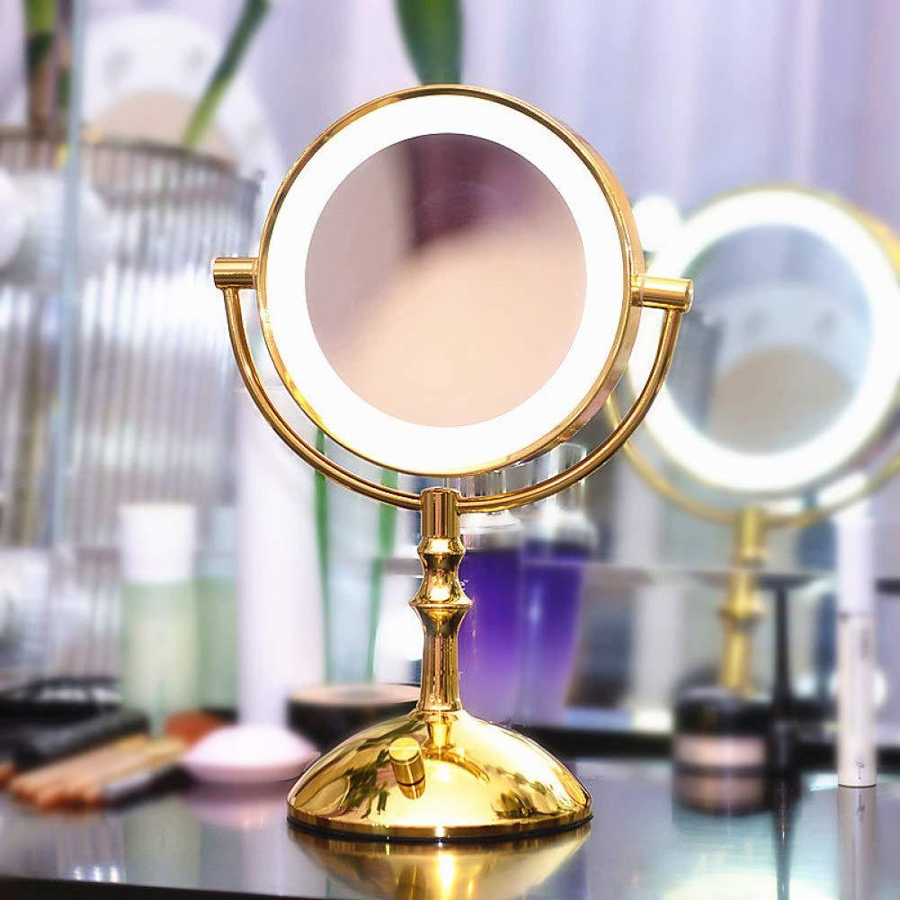SMQ Miroir de beaut/é Bicolore /à LED avec Miroir de lumi/ère de Maquillage /à Double Face Miroir de courtoisie dor/é grossissant Miroir de beaut/é Jaune Lumineux commutable