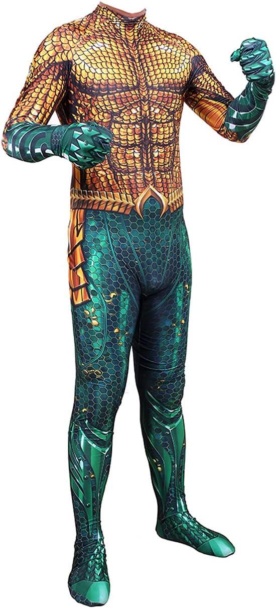 NVHAIM Traje de superhéroe Cosplay, Aquaman Onesies Body -uit Game Cosplay Niños Traje de Rendimiento Halloween Sumpsuits (Dorado),Men XXXL