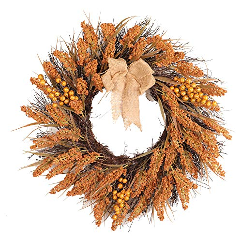 Cuekondy Clearance Sale Fall Front Door Wreaths for Thanksgiving Christmas Home Indoor Outdoor Door Wall Decoration Autumn Maple Leaf Berry Garland Rattan (Multicolor, -