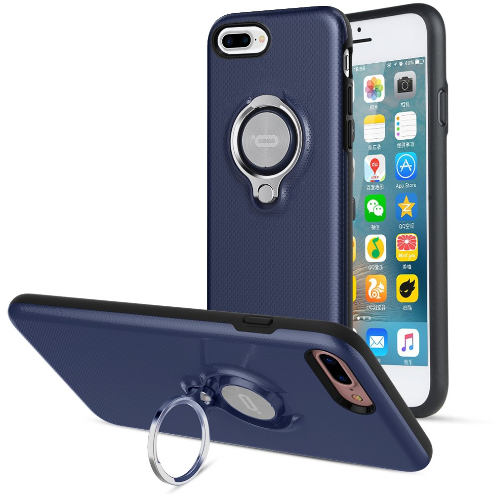 ICONFLANG iPhone 8 Plus Case, iPhone 7 Plus Case, 360 Degree Rotating Ring Kickstand Case Shockproof Impact Protection [Support Magnetic Car Mount Case] for iPhone 8 Plus / 7 Plus (2018) - Navy by ICONFLANG