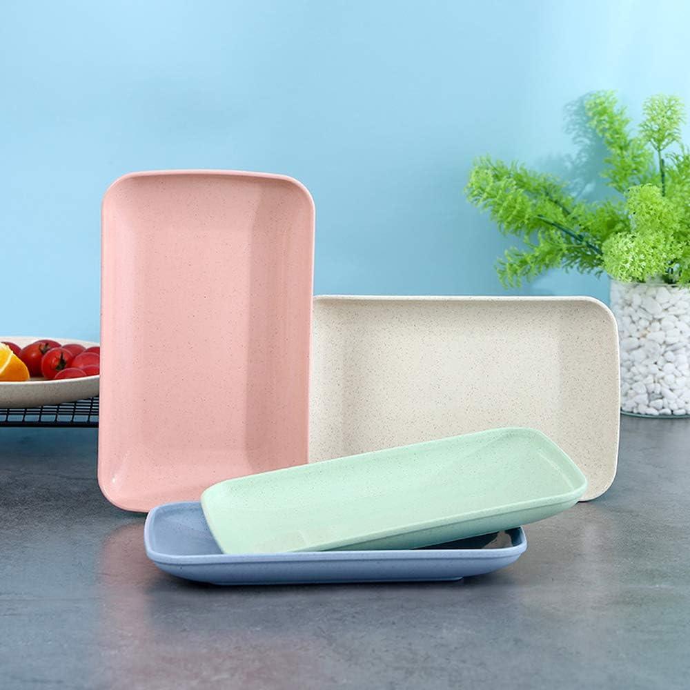 Wheat Straw Lightweight Salad Plates Set of 4 Unbreakable Rectangle Dessert Dinner Plates Dishwasher /& Microwave Safe