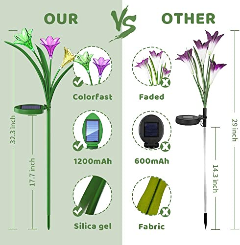 Solar Garden Lights Outdoor Decorative, Colorfast Solar Flower Lights with 1200mAh Battery, Multi-Color Changing LED Solar Powered Lily Lights Outdoor Waterproof for Patio, Lawn, Yard, Pathway 2 Pack