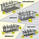 ToolAssort Pegboard Basket Set of 4, Hooks Easily to Arrange Accessories, Organizer Bins Transform Any Garage, Crafts Room, Nursery Kitchen, Black Vinyl Coated Wire Basket Kit