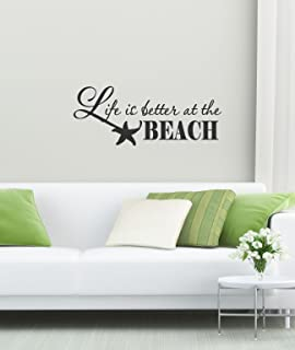 Amazoncom Removable Wall Decals Stickers Life Is Better At Beach - Wall decals beach quotes