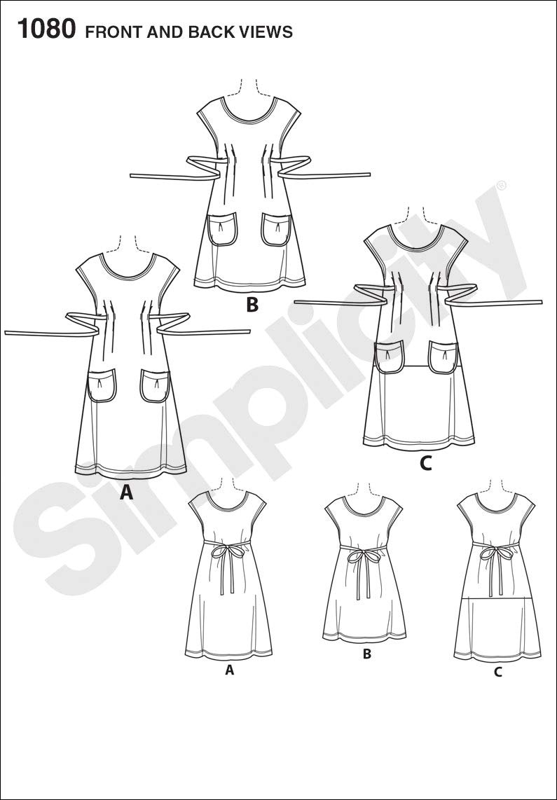 Size A XS-S-M-L-XL Simplicity Pattern 1080 Misses Dress or Tunic by Dottie Angel