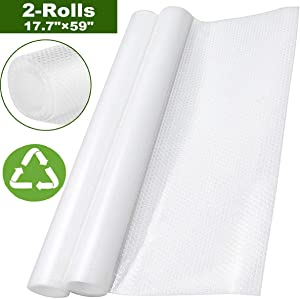2 Rolls Shelf Liner for Kitchen Cabinet, Non Adhesive Drawer Liner for Dresser Shelves Table Refrigerator(Clear, 17.7 x 59 inch)