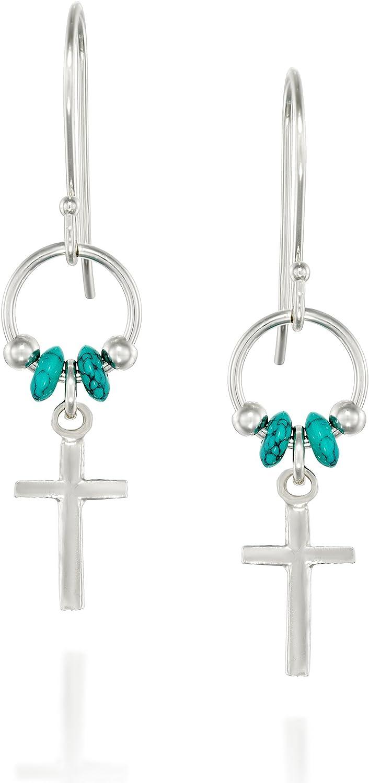 Acentos de plata de ley 925pendientes de Cruz con perlas de color turquesa y ganchos de alambre francés