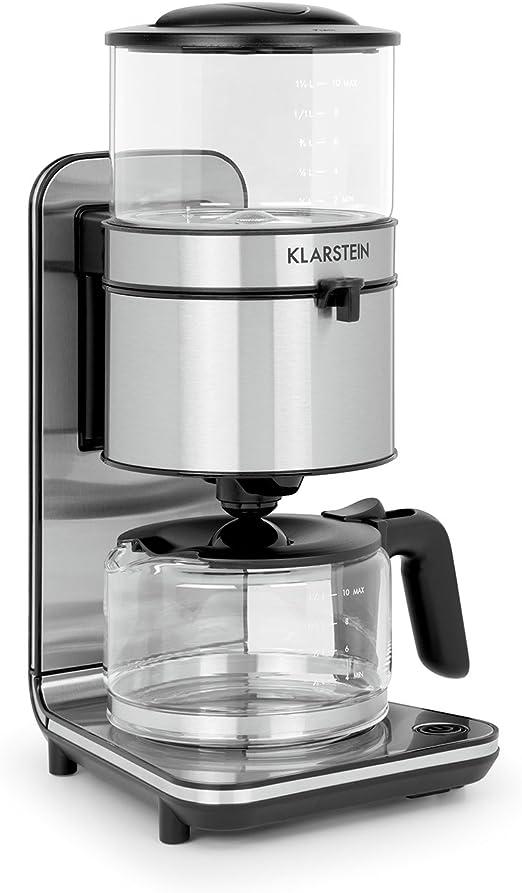 KLARSTEIN Soulmate Cafetera con filtro de goteo - 1800W, 1,25L, Base de acero inoxidable, Percolación, Diseño de cristal, Café filtrado caliente, Deposito extraíble, Limpieza sencilla: Amazon.es: Hogar
