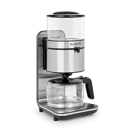 KLARSTEIN Soulmate Cafetera con filtro de goteo - 1800W, 1,25L, Base de acero inoxidable, Percolación, Diseño de cristal, Café filtrado caliente, ...